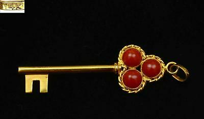 Vintage Chinese 14K Gold Key & Red Coral Carved Carving Bead Necklace Pendant