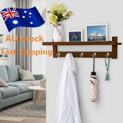 LANGRIA Wall-Mounted Bamboo Wooden Coat Hat Rack With 5 Metal Hooks Upper Shelf