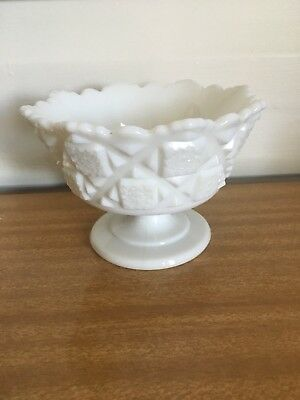 Vintage White Milk Glass Pedestal Bowl