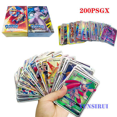 200pcs Pokemon Cards 200 GX English Holo Flash Trading Cards Game Girl Boy Gifts