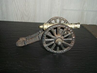 Vintage Antique Small Cast Iron Toy Cannon on Wheels Marked USA