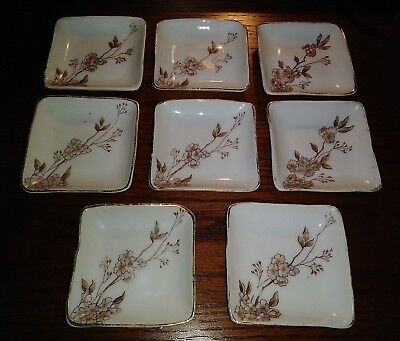 Vtg Set of 8 Hand Painted Square Floral Butter Pats Tea Bag Caddy Sushi Dish EXC