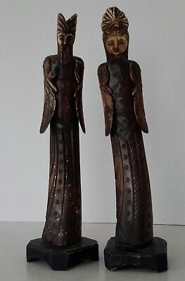 Antique Asian Hand Carved Bone Figurines