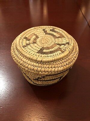Papago Indian Basket With Lid