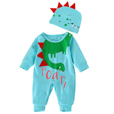 Toddler Baby Girl Boy Kid Cotton Animal Romper Jumpsuit Playsuit Hat Clothes Set