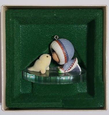 Hallmark ornament 1983  FROSTY FRIENDS Fourth in Series Eskimo and seal on ice