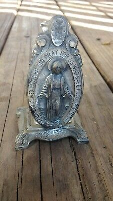 Antique/vintage Embossed Holy Water Bottle W/ Metal Virgin Mary Stand~1860~