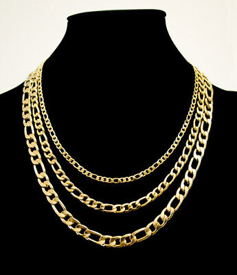 3mm 6mm 8mm Stainless Steel 14K gold plated Figaro Chain Necklace for men kids