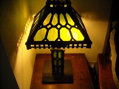 Arts & Crafts Mission Iron Table Newel Lamp Stained Glass Shade Base