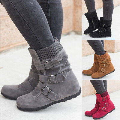Winter Warm New Womens Ladies Casual Flats Buckle Ankle Snow Boots Martin Shoes
