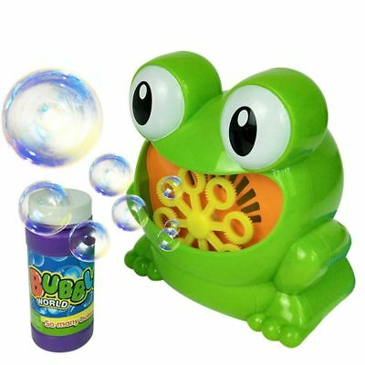Easy To Operate Kids Bubble Blowing Machine Blower Automatic Frog Shape Unisex