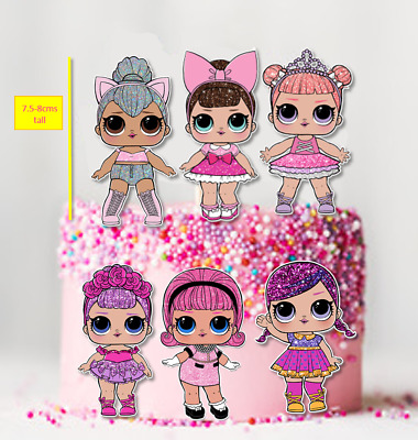 6x XLarge Glitter LOL Dolls Edible Wafer Cake Cupcake Toppers Decorations  #207