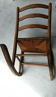 Antique Wood Rustic Shaker Rocker Ladder Back Rocking Chair Woven *PICKUP ONLY*