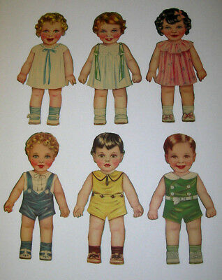 """VINTAGE  SET  OF  (6)  PAPER  DOLLS  w/ OUTFITS  10"""" TALL  (3)  BOYS  (3)  GIRLS"""