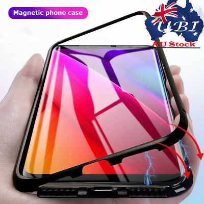 For Samsung S8 S9+ Luxury Magnetic Adsorption Metal Bumper Glass Back Case Cover