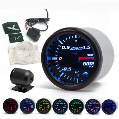 2'' 52mm Universal Car LED Turbo Boost Gauge Meter Pointer Bar 7 Color Display
