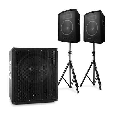 """Skytec 2.1 Active Pa Dj Set With Bi-Amp Suboofer Pair 10"""" Speakers & Stands Pack"""