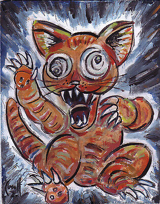CRAZY CAT ATTACK funny 8x10 original oil painting wood panel art signed Crowell