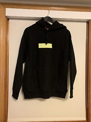 545800643f2c SUPREME BOX LOGO Black Lime Fw17 Hoodie M With FREE STICKER ...