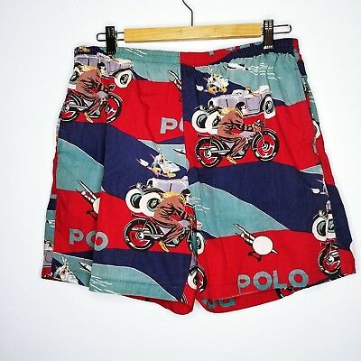 Rare Vtg Polo Ralph Lauren Swim Trunks Shorts L Motorcycle Car Plane Boat