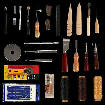 25pcs Leather Craft Punch Tools Stitching Carving Working Sewing Saddle Kits NC