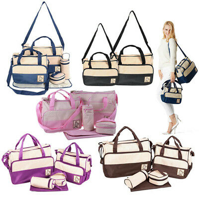 Baby Newborn Shower Nappy Diaper Changing Handbag Mummy Tote Bag Bottle Mat Set