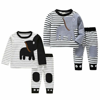 Winter Toddler Kids Baby Boys T Shirt Tops+Cartoon Pants Outfits Clothes Set