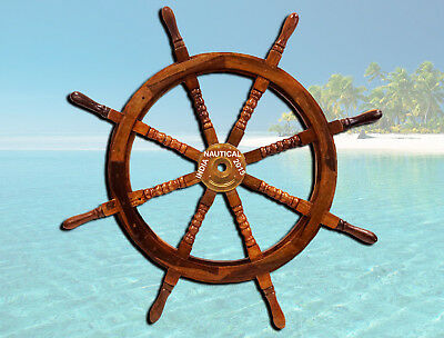 "Vintage Large 42"" Boat Ship Steering Wheel Brass Center Nautical Wall Decor"