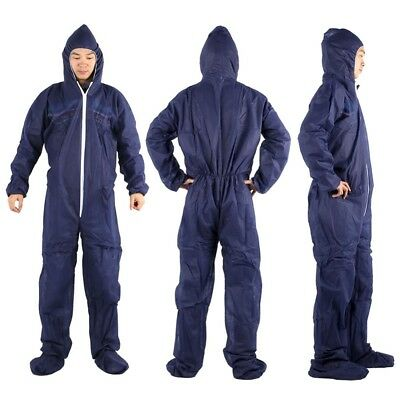 1×Disposable Navy/White Overall Protective Painting Decorating Coverall Suit New