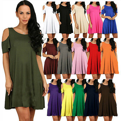 Women's Casual Summer Cold Shoulder Tunic Top T-shirt Swing Dress With Pockets
