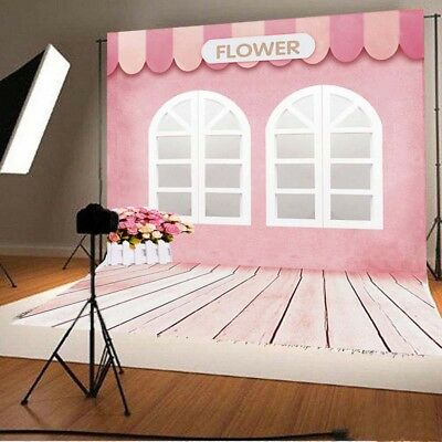3x5ft 5x7ft Pink Flower House Newborn Baby Photography Backdrops Backgrounds HOT