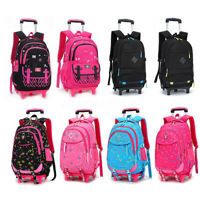 AU Large Kids Trolley Backpack Student School Detachable Luggage Bag With Wheels