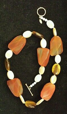 14K Yellow Gold CARNELIAN, TIGERS EYE, & Creamy MOTHER-OF-PEARL Necklace