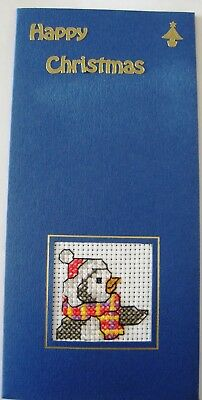 Christmas Card Completed Cross Stitch Penguin 8.25X4""