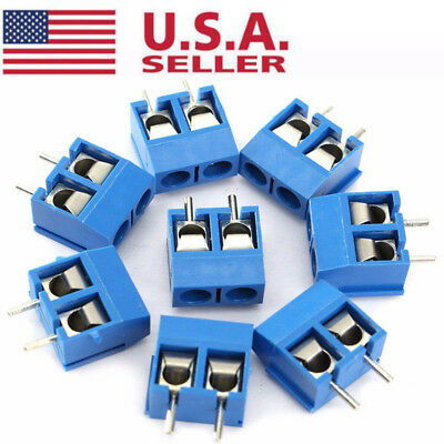 US 2-Pin Screw Terminal Block Connector 5.08mm Pitch Panel PCB Mount Blue 40Pcs