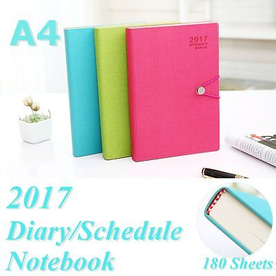 A4 Portable Notebook Diary Memo Notepad Journal Planner Note Pad PU Leather