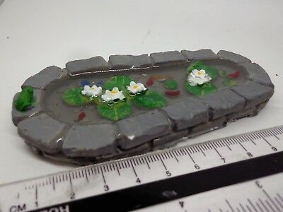 1:12 Scale Garden Pond With Fixed Fish, Water Lilly & Frog Dolls House Garden