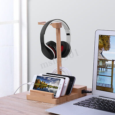 3 USB Charging Port Phone Pad &Headephone Stand 5V 3A Smart Wooden Bamboo Holder