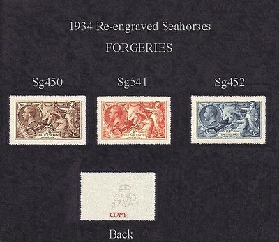 King George V Seahorses 1934 Re-engraved Set of 3 (forgeries)