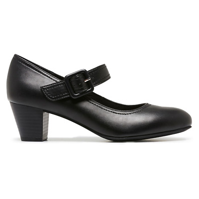 Womens Grosby Isli Leather Black Buckle Strap Heel Work Formal Comfort Shoes