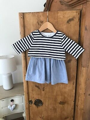 The Little White Company Baby Girls Blue Striped Dress 12-18 Month/1-1.5 Year