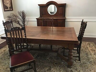 English Oak Barley Twist Expandable Dining Table, Chairs, Buffet