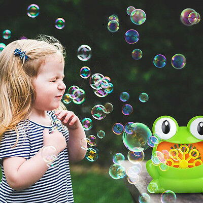 Portable Frog Automatic Bubble Blower Making Machine Outdoor Kids Children Toys