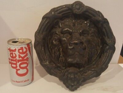 Vintage Large Gothic Castle Cast Iron Mgm Style Lion Head Mansion Door Knocker