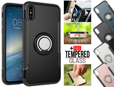 For iPhone 6S 7 8 Plus XS Max XR Ring Cas Cover Fr Aimant Car Shockproof Hybrid