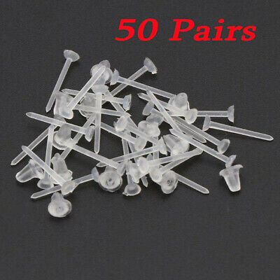 50 pairs of Clear Plastic Earrings Transparent Invisible Retainer Studs UK