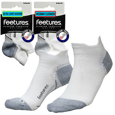 Feetures Ultimate Compression Pro Plantar Fasciitis Blister Free Socks White NST