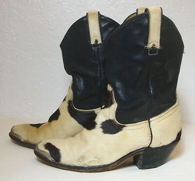 00d37d62464 VINTAGE COWBOY BOOTS Horse Hair Leather Western Custom Made Brown White  Women 7