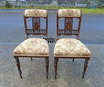 Antique Pair Of Victorian Mahogany Inlaid Chairs       Delivery Available