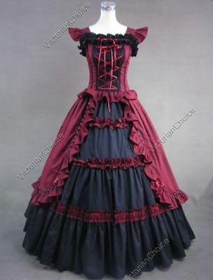 Burgundy & Black 18th Century Colonial Gown - Size XXL